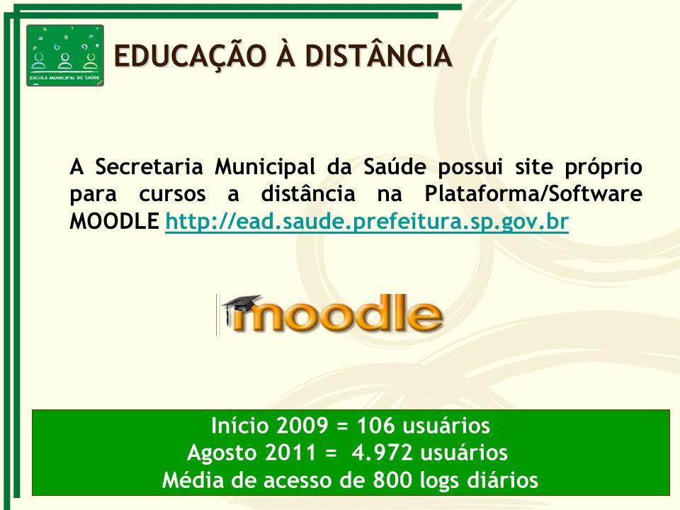 A Secretaria Municipal da Saúde possui site próprio para cursos a distância na Plataforma/Software MOODLE http://ead.saude.prefeitura.sp.gov.brhttp://