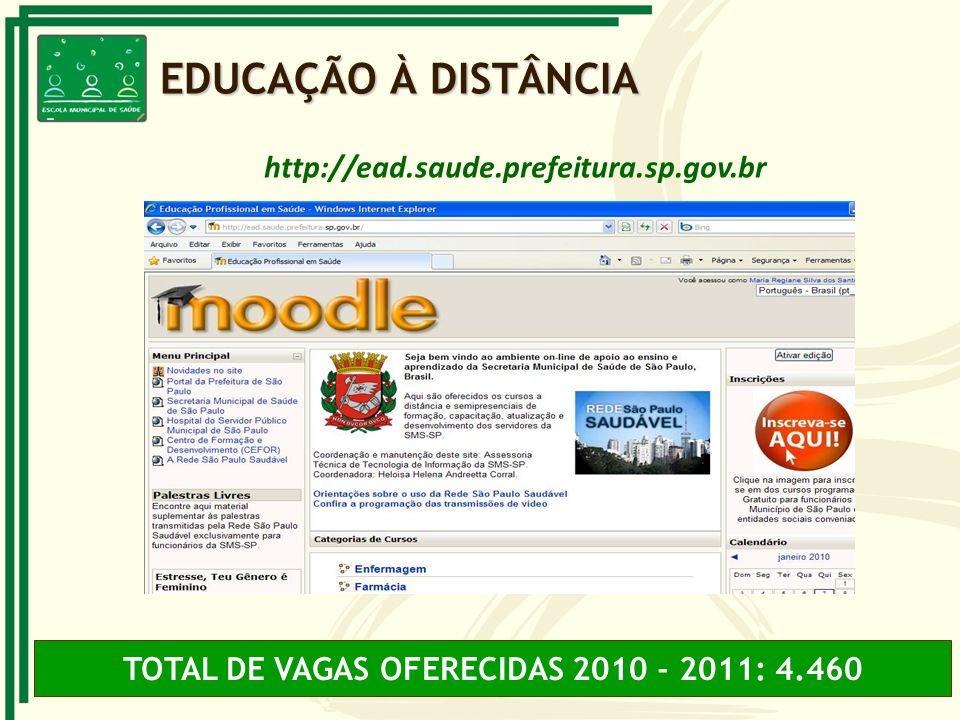 http://ead.saude.prefeitura.sp.gov.br TOTAL DE VAGAS OFERECIDAS 2010 - 2011: 4.460 EDUCAÇÃO À DISTÂNCIA