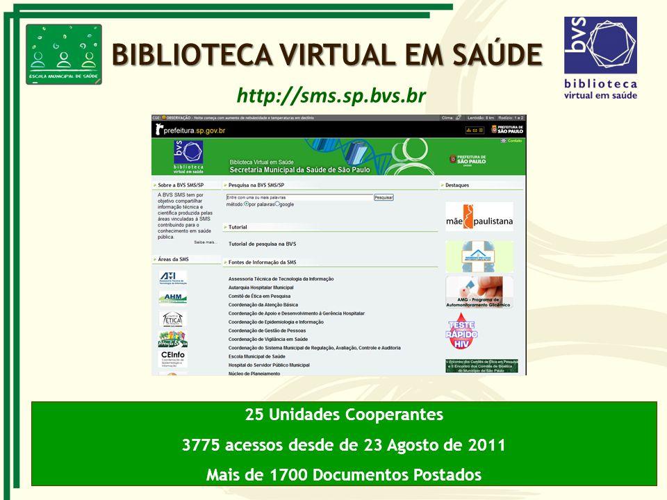 BIBLIOTECA VIRTUAL EM SAÚDE 25 Unidades Cooperantes 3775 acessos desde de 23 Agosto de 2011 Mais de 1700 Documentos Postados http://sms.sp.bvs.br