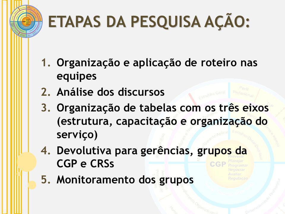 1.Organização e aplicação de roteiro nas equipes 2.Análise dos discursos 3.Organização de tabelas com os três eixos (estrutura, capacitação e organiza
