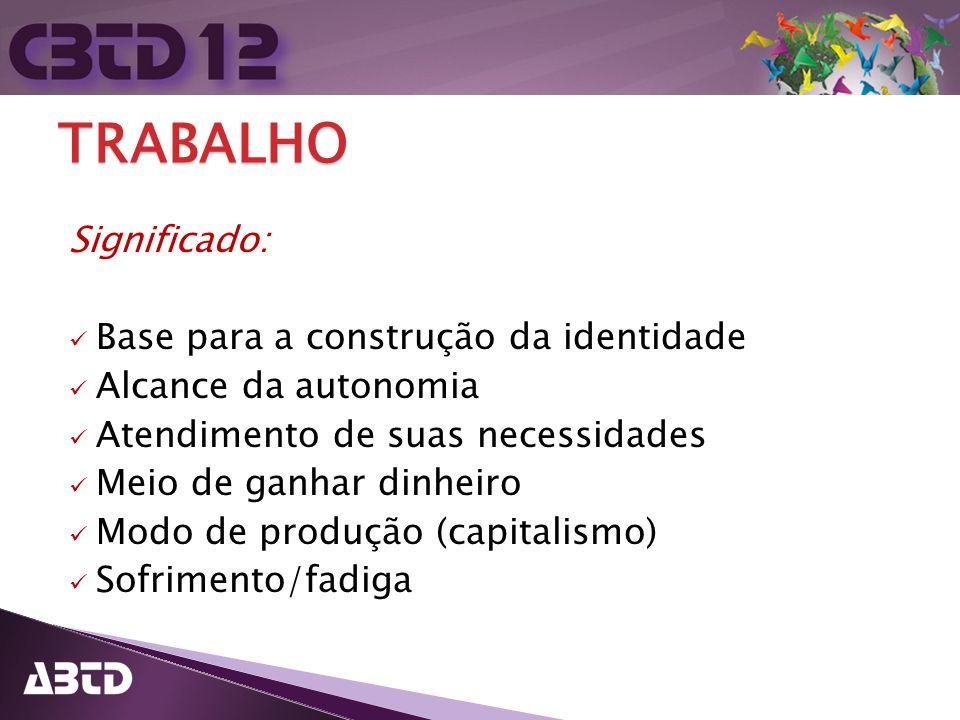 TRABALHO Significado: Base para a construção da identidade Alcance da autonomia Atendimento de suas necessidades Meio de ganhar dinheiro Modo de produ