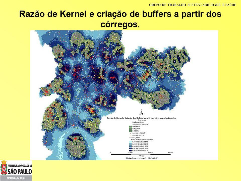 GRUPO DE TRABALHO SUSTENTABILIDADE E SAÚDE Razão de Kernel e criação de buffers a partir dos córregos.