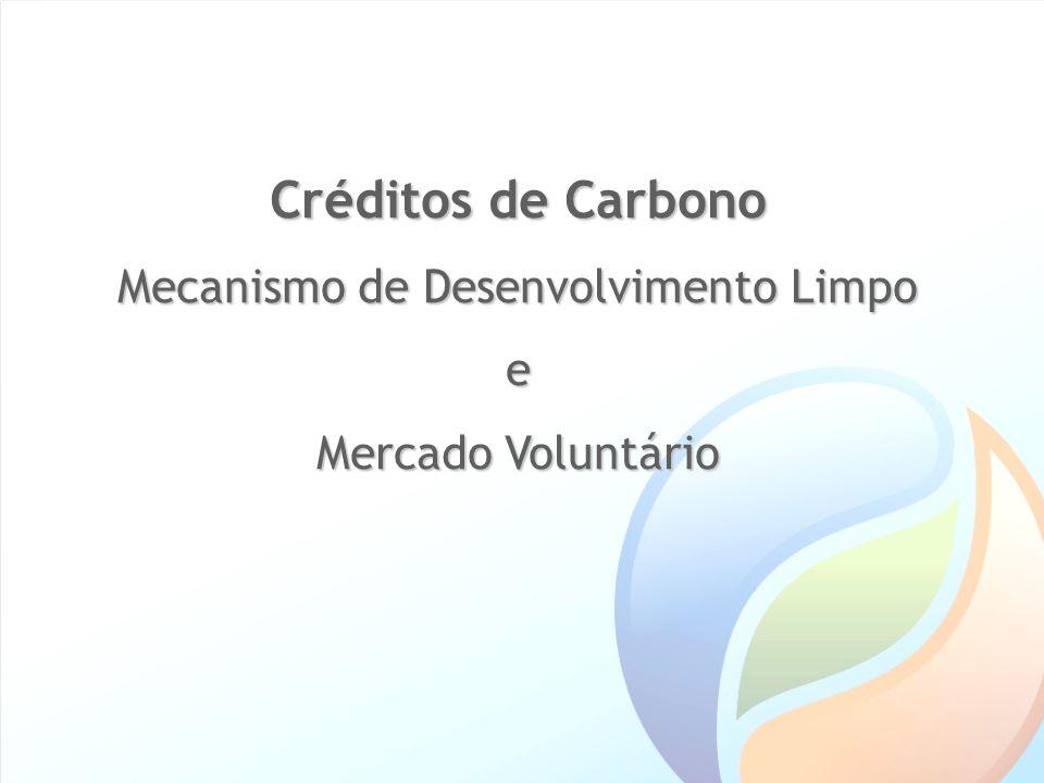 Equivalência Equivalência 1 crédito de carbono = 1 tCO2e = 1 CER ou VER CER: Certified Emission Reduction VER: Verified Emission Reduction