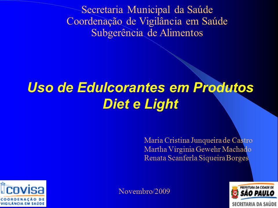 Pesquisa Realizada pelo Inmetro Resultados produtos diet: 78% não conformes à legislação falta de registro no MS valores nutricionais fora da tolerância de 20% não informaram a quantidade de açúcares presentes