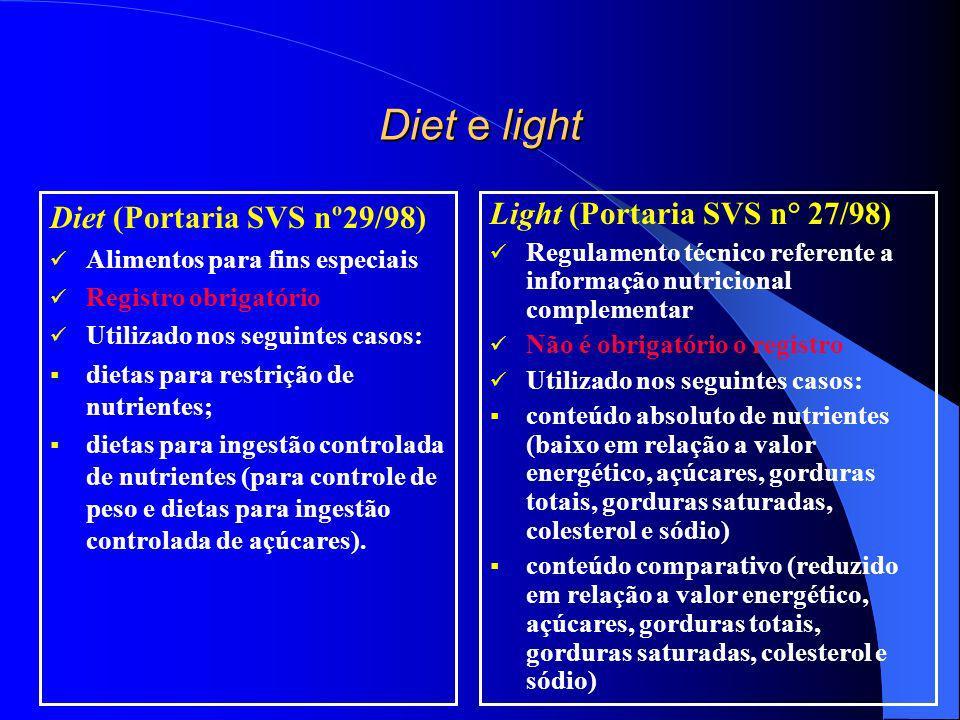 Light (Portaria SVS nº 27/98) Regulamentado pela Portaria SVS/MS nº 27/98 – Informação Nutricional Complementar Informação Nutricional Complementar: é qualquer representação que afirme, sugira ou implique que um alimento possui uma ou mais propriedades nutricionais particulares, relativas ao seu valor energético e o seu conteúdo de proteínas, gorduras, carboidratos, fibras alimentares, vitaminas e/ou minerais.