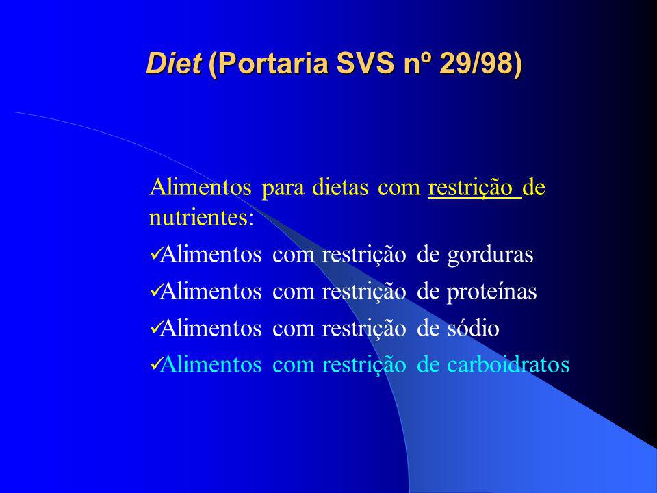 Diet e light Diet (Portaria SVS nº29/98) Alimentos para fins especiais Registro obrigatório Utilizado nos seguintes casos: dietas para restrição de nutrientes; dietas para ingestão controlada de nutrientes (para controle de peso e dietas para ingestão controlada de açúcares).