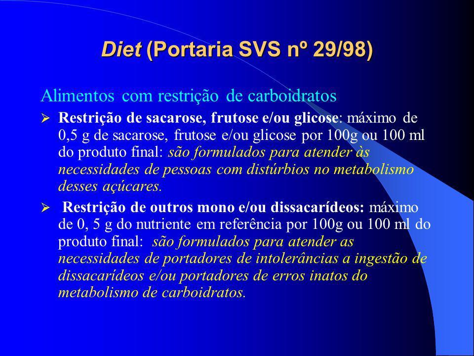 Diet (Portaria SVS nº 29/98) Alimentos com restrição de carboidratos Restrição de sacarose, frutose e/ou glicose: máximo de 0,5 g de sacarose, frutose e/ou glicose por 100g ou 100 ml do produto final: são formulados para atender às necessidades de pessoas com distúrbios no metabolismo desses açúcares.