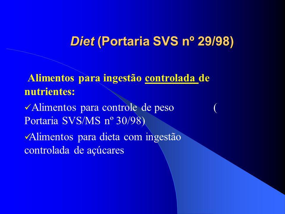Diet (Portaria SVS nº 29/98) Alimentos para ingestão controlada de nutrientes: Alimentos para controle de peso ( Portaria SVS/MS nº 30/98) Alimentos para dieta com ingestão controlada de açúcares