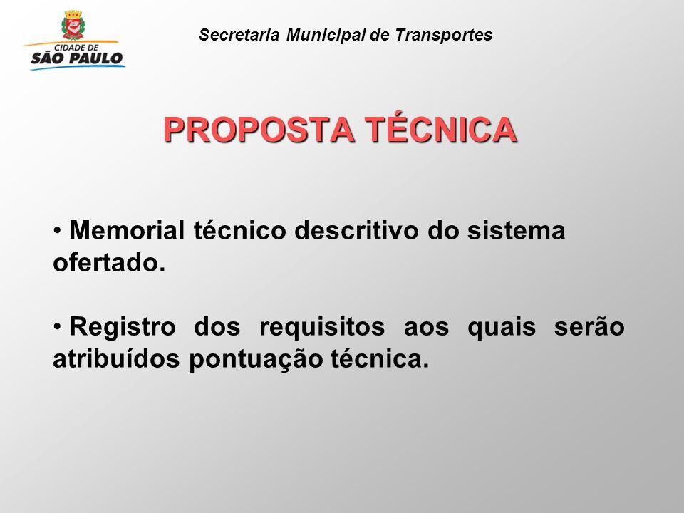 PROPOSTA TÉCNICA Memorial técnico descritivo do sistema ofertado. Registro dos requisitos aos quais serão atribuídos pontuação técnica. Secretaria Mun