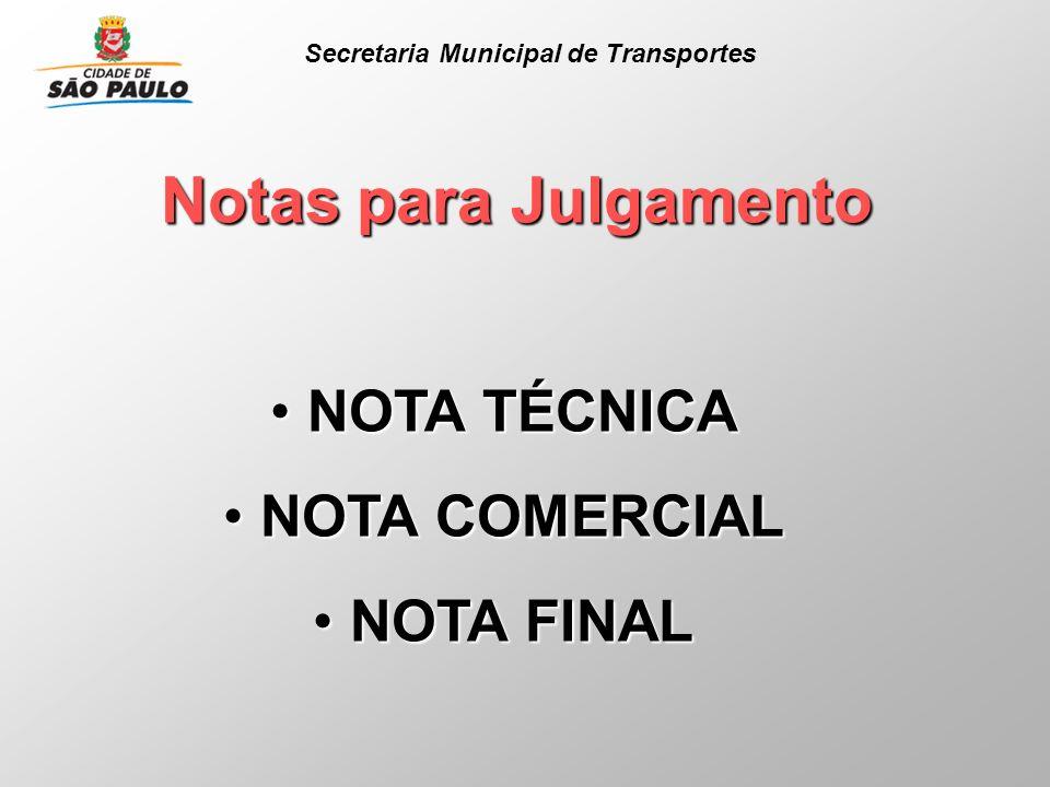 Notas para Julgamento NOTA TÉCNICA NOTA TÉCNICA NOTA COMERCIAL NOTA COMERCIAL NOTA FINAL NOTA FINAL Secretaria Municipal de Transportes