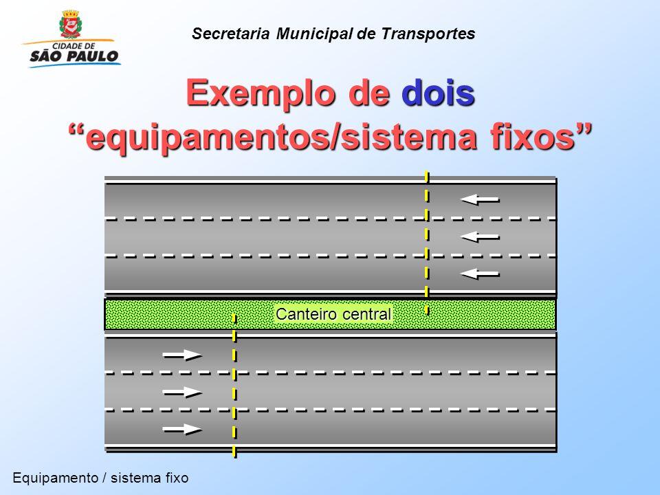 Canteiro central Exemplo de dois equipamentos/sistema fixos Equipamento / sistema fixo Secretaria Municipal de Transportes