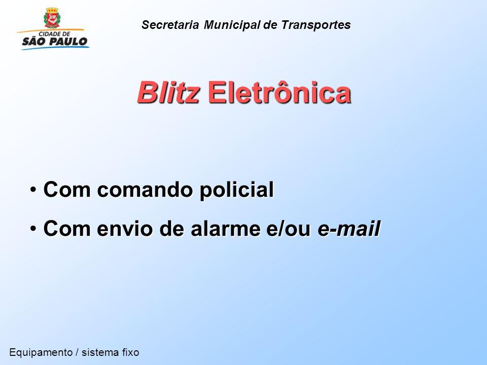 Blitz Eletrônica Com comando policial Com comando policial Com envio de alarme e/ou e-mail Com envio de alarme e/ou e-mail Equipamento / sistema fixo