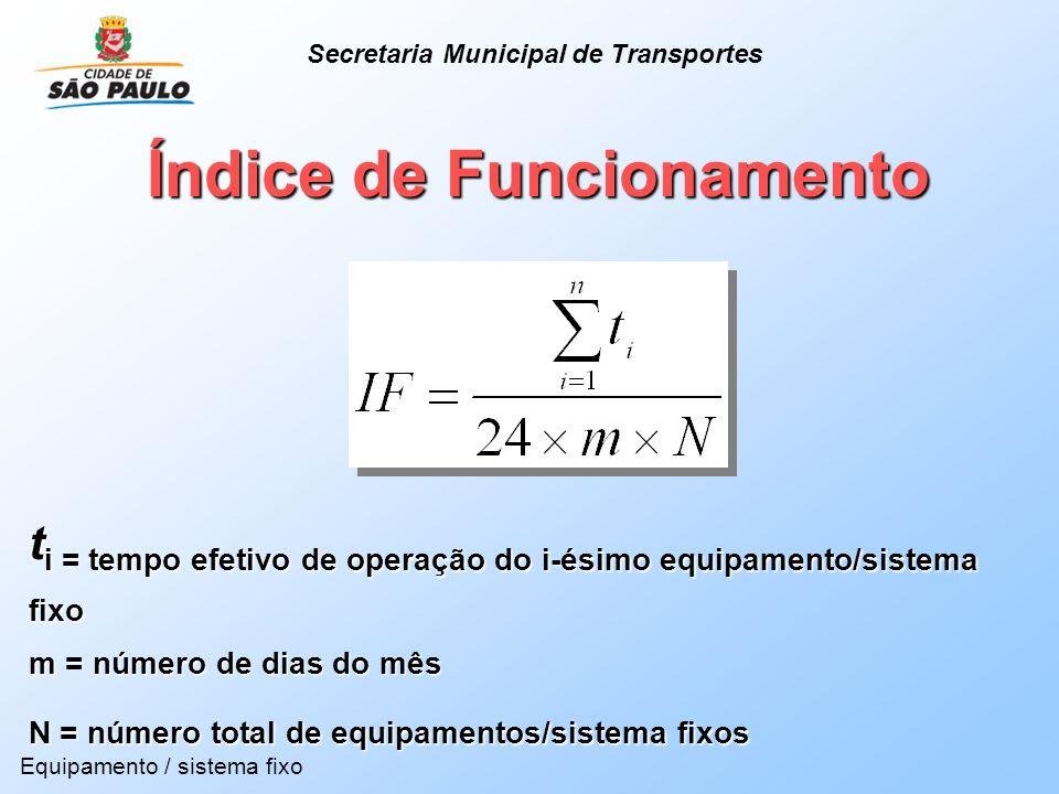 Índice de Funcionamento t i = tempo efetivo de operação do i-ésimo equipamento/sistema fixo m = número de dias do mês N = número total de equipamentos