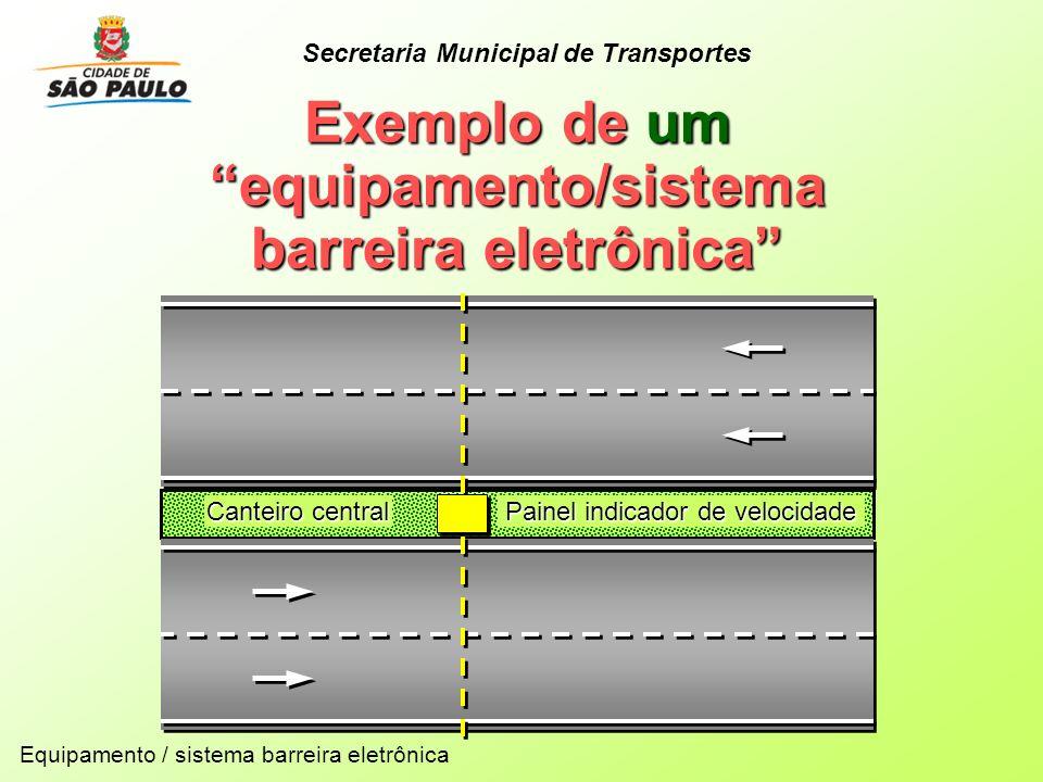 Canteiro central Painel indicador de velocidade Exemplo de um equipamento/sistema barreira eletrônica Equipamento / sistema barreira eletrônica Secret