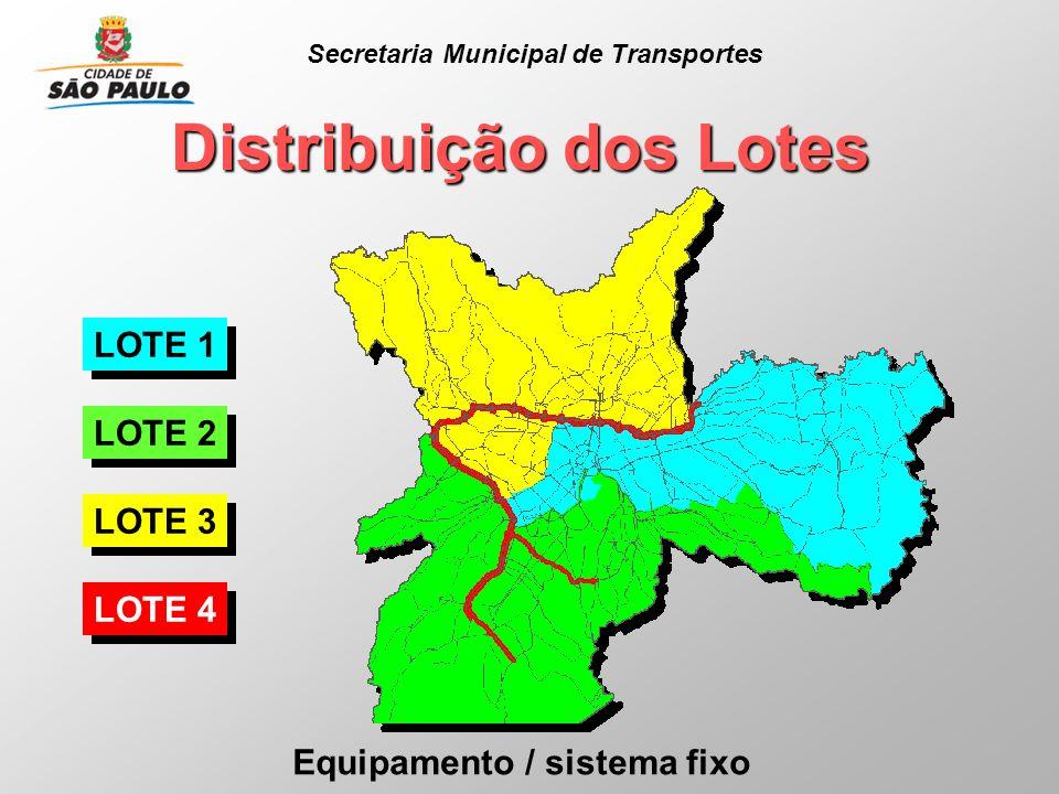 Distribuição dos Lotes Equipamento / sistema fixo LOTE 1 LOTE 2 LOTE 3 LOTE 4 Secretaria Municipal de Transportes