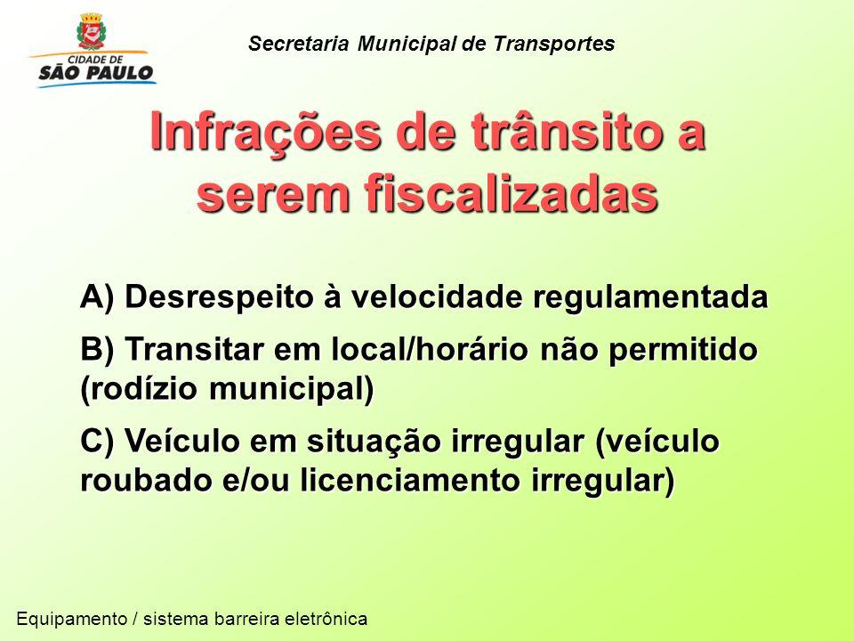 Infrações de trânsito a serem fiscalizadas Equipamento / sistema barreira eletrônica A) Desrespeito à velocidade regulamentada B) Transitar em local/h