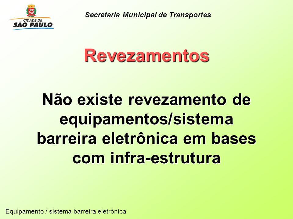 Revezamentos Não existe revezamento de equipamentos/sistema barreira eletrônica em bases com infra-estrutura Equipamento / sistema barreira eletrônica