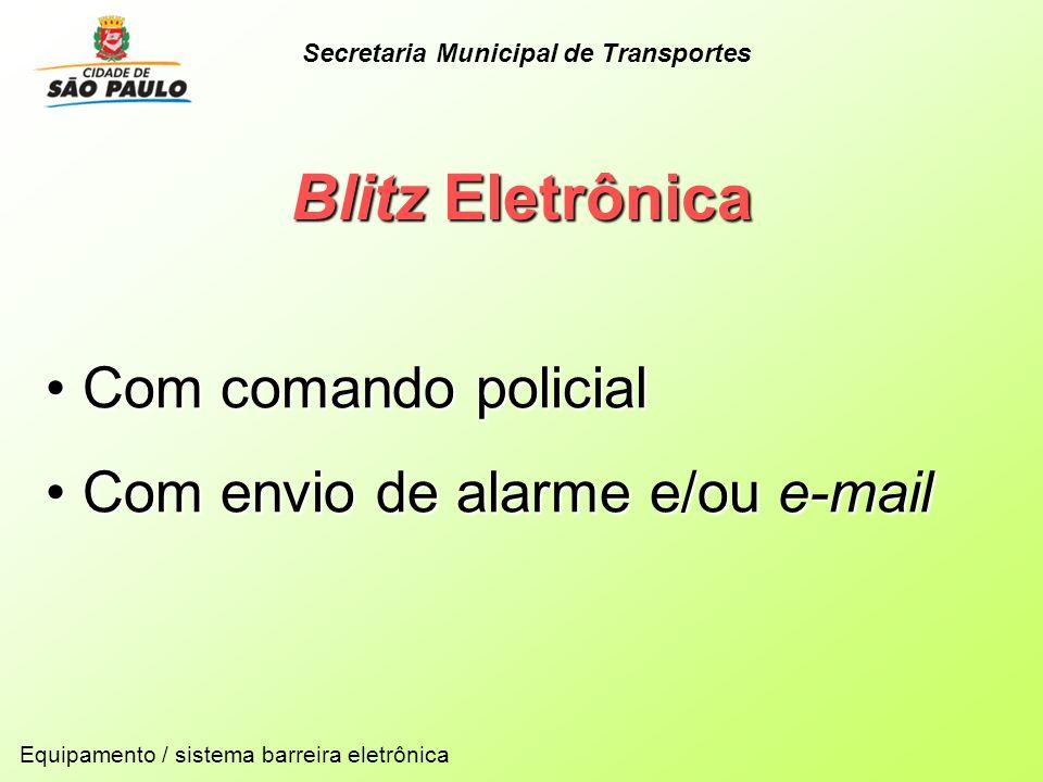 Blitz Eletrônica Com comando policial Com comando policial Com envio de alarme e/ou e-mail Com envio de alarme e/ou e-mail Equipamento / sistema barre