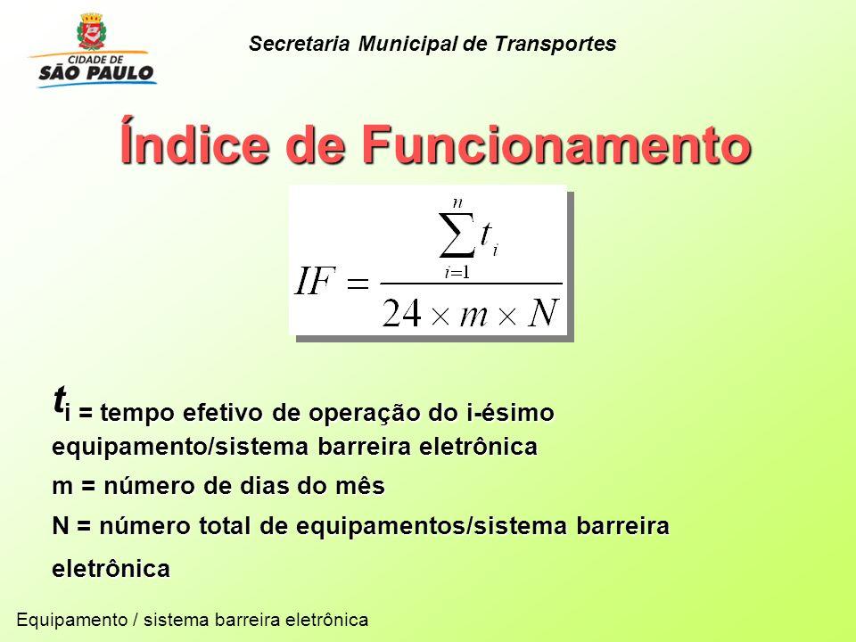 Índice de Funcionamento t i = tempo efetivo de operação do i-ésimo equipamento/sistema barreira eletrônica m = número de dias do mês N = número total
