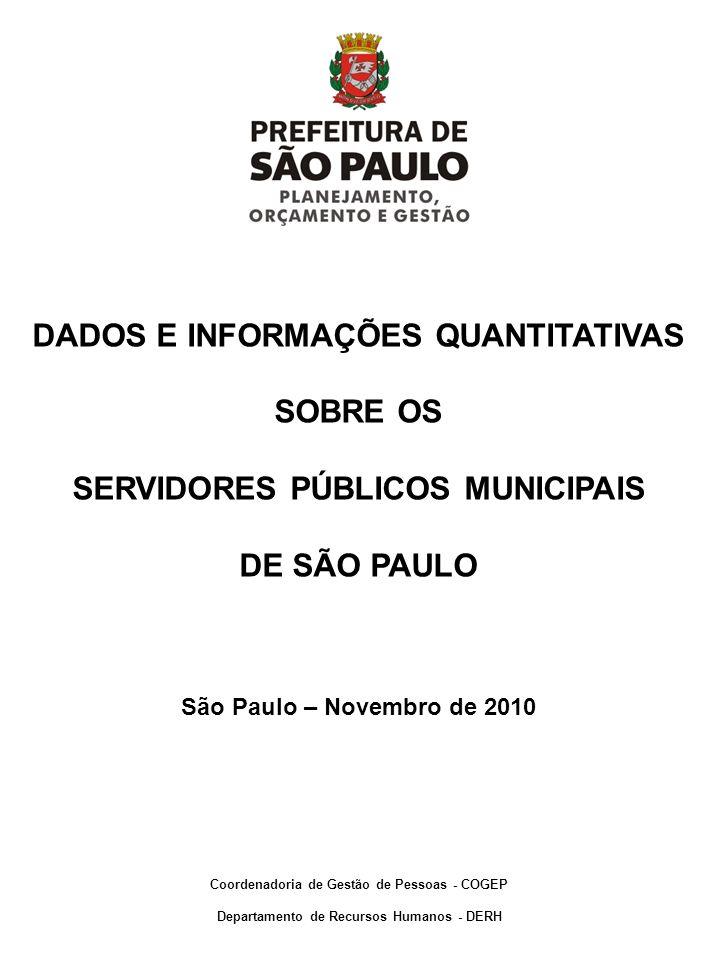 DADOS E INFORMAÇÕES QUANTITATIVAS SOBRE OS SERVIDORES PÚBLICOS MUNICIPAIS DE SÃO PAULO São Paulo – Novembro de 2010 Coordenadoria de Gestão de Pessoas