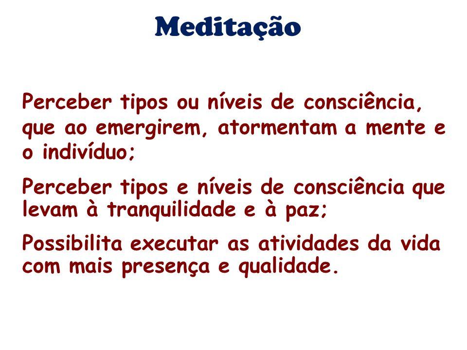 Meditação Perceber tipos ou níveis de consciência, que ao emergirem, atormentam a mente e o indivíduo; Perceber tipos e níveis de consciência que leva
