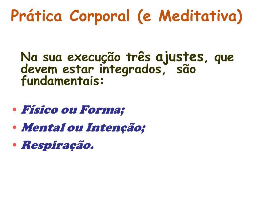 Prática Corporal (e Meditativa) Na sua execução três ajustes, que devem estar integrados, são fundamentais: Físico ou Forma; Mental ou Intenção; Respi