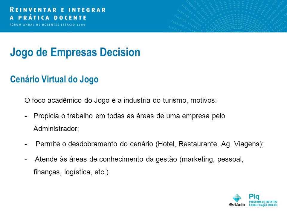 Jogo de Empresas Decision Cenário Virtual do Jogo O foco acadêmico do Jogo é a industria do turismo, motivos: -Propicia o trabalho em todas as áreas d