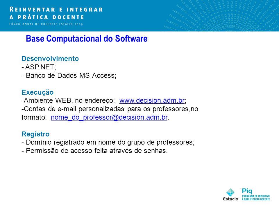 Base Computacional do Software Desenvolvimento - ASP.NET; - Banco de Dados MS-Access; Execução -Ambiente WEB, no endereço: www.decision.adm.br;www.dec