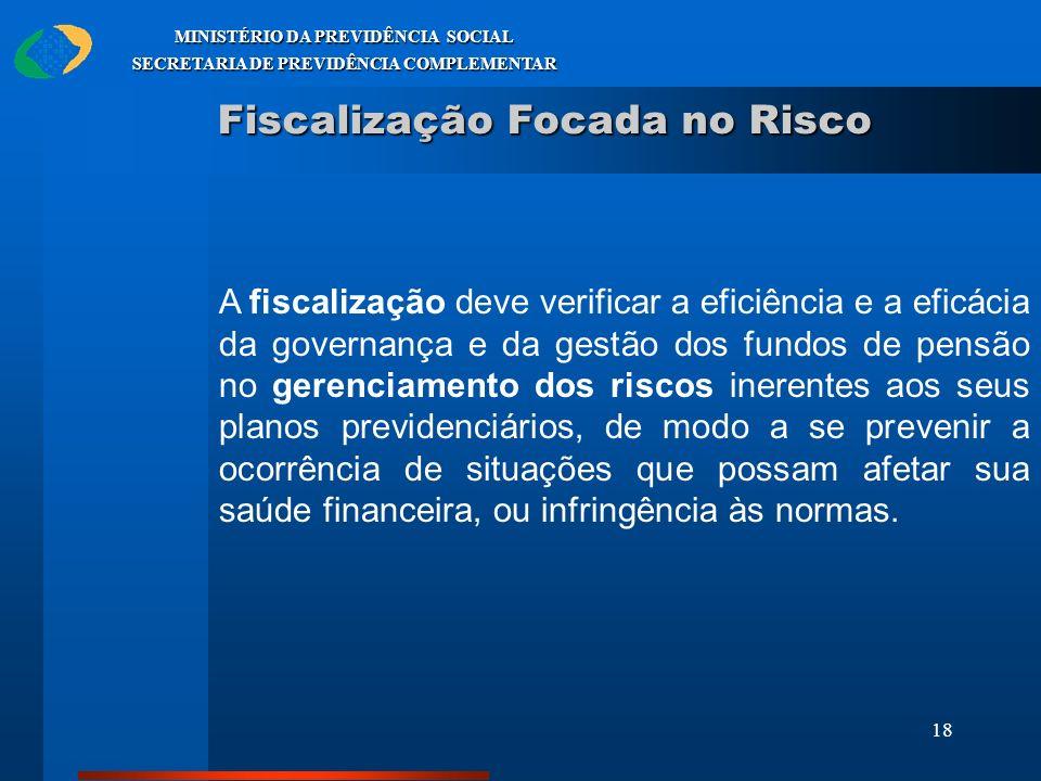 18 MINISTÉRIO DA PREVIDÊNCIA SOCIAL SECRETARIA DE PREVIDÊNCIA COMPLEMENTAR Fiscalização Focada no Risco A fiscalização deve verificar a eficiência e a