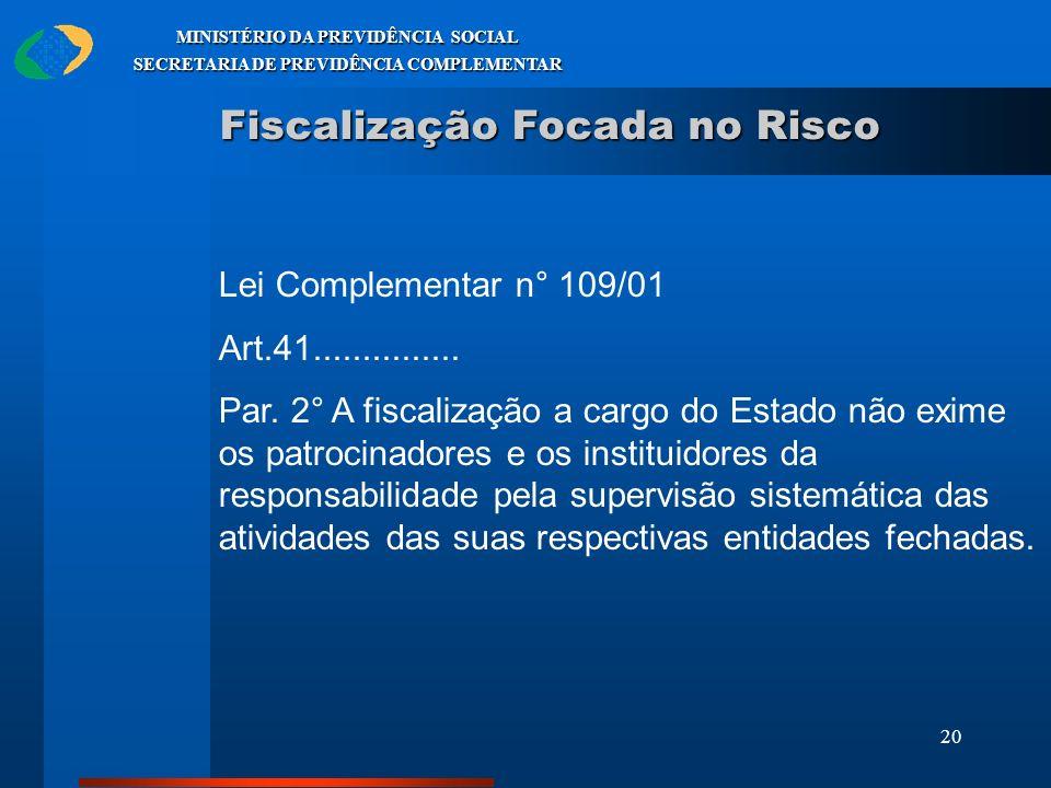 20 MINISTÉRIO DA PREVIDÊNCIA SOCIAL SECRETARIA DE PREVIDÊNCIA COMPLEMENTAR Fiscalização Focada no Risco Lei Complementar n° 109/01 Art.41.............