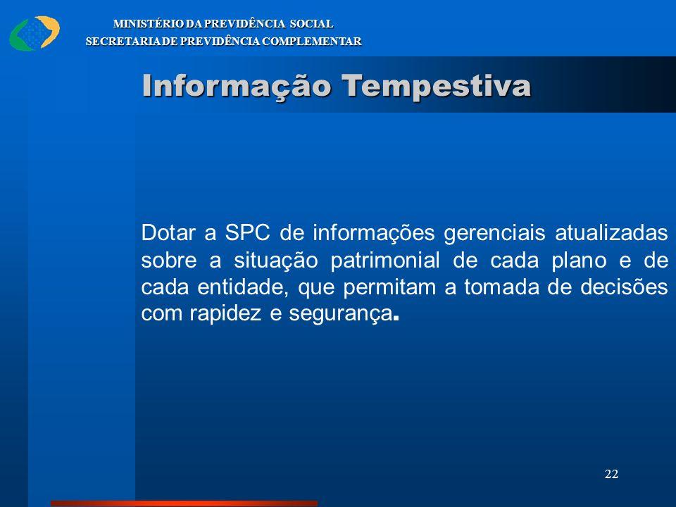 22 MINISTÉRIO DA PREVIDÊNCIA SOCIAL SECRETARIA DE PREVIDÊNCIA COMPLEMENTAR Informação Tempestiva Dotar a SPC de informações gerenciais atualizadas sob