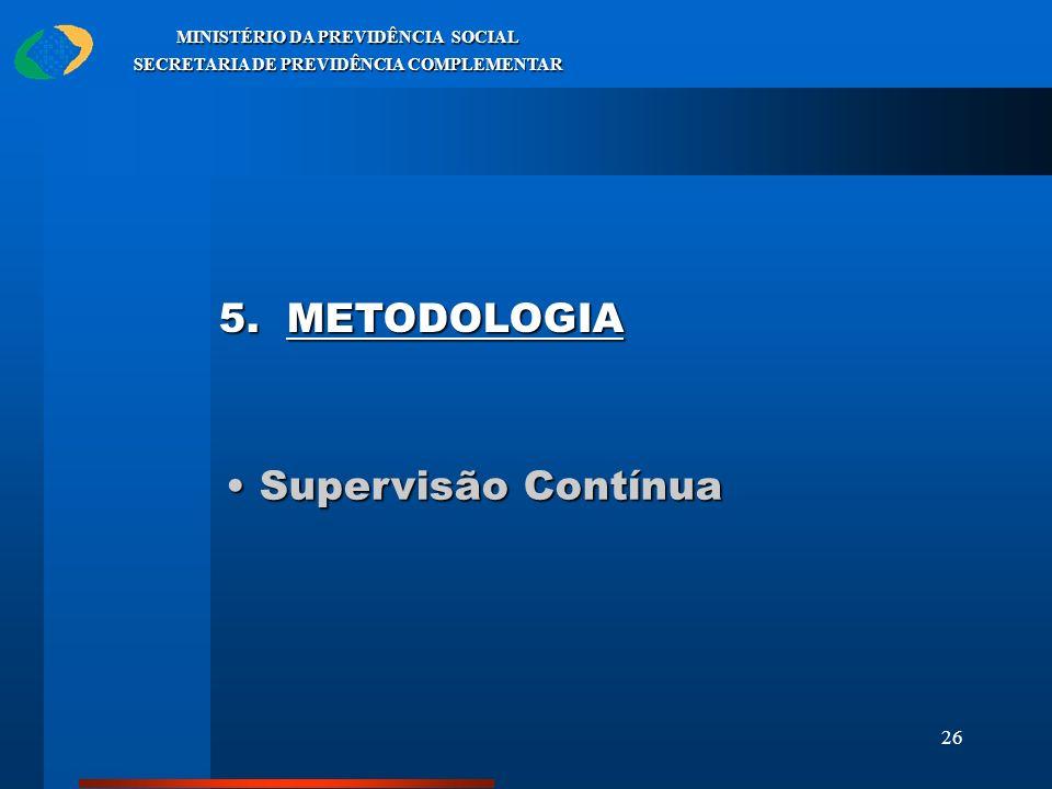 26 MINISTÉRIO DA PREVIDÊNCIA SOCIAL SECRETARIA DE PREVIDÊNCIA COMPLEMENTAR Supervisão Contínua Supervisão Contínua 5. METODOLOGIA