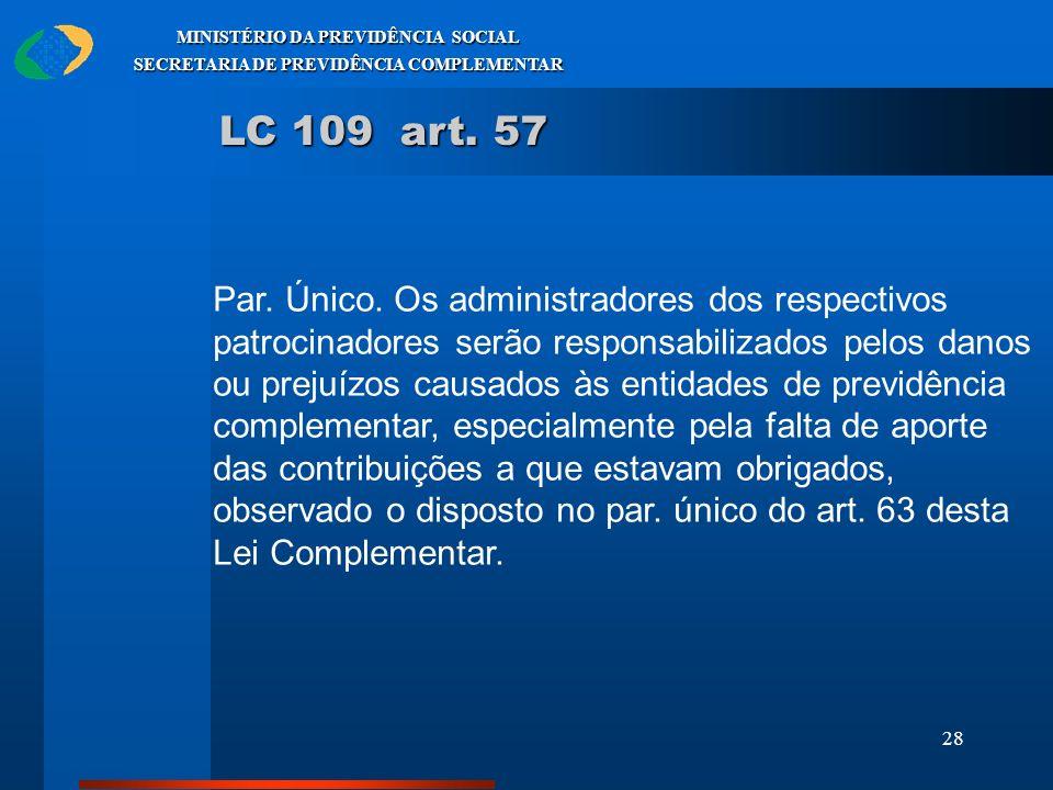 28 MINISTÉRIO DA PREVIDÊNCIA SOCIAL SECRETARIA DE PREVIDÊNCIA COMPLEMENTAR LC 109 art. 57 Par. Único. Os administradores dos respectivos patrocinadore