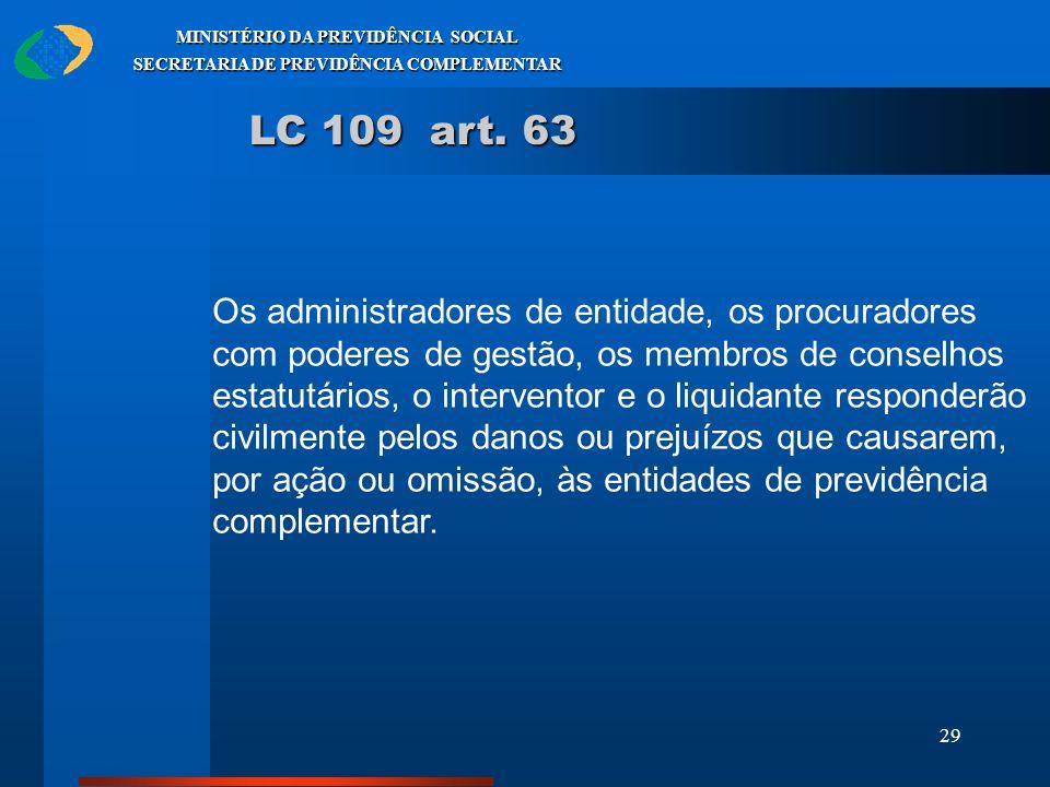 29 MINISTÉRIO DA PREVIDÊNCIA SOCIAL SECRETARIA DE PREVIDÊNCIA COMPLEMENTAR LC 109 art. 63 Os administradores de entidade, os procuradores com poderes