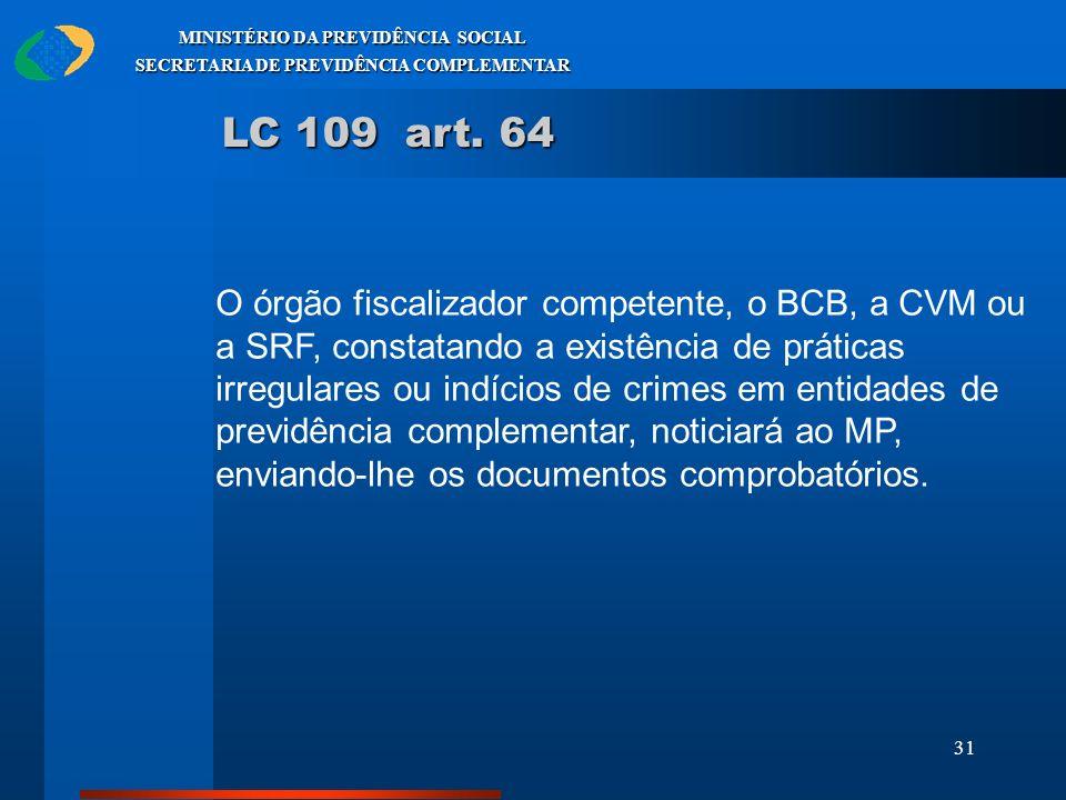31 MINISTÉRIO DA PREVIDÊNCIA SOCIAL SECRETARIA DE PREVIDÊNCIA COMPLEMENTAR LC 109 art. 64 O órgão fiscalizador competente, o BCB, a CVM ou a SRF, cons