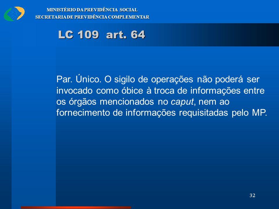 32 MINISTÉRIO DA PREVIDÊNCIA SOCIAL SECRETARIA DE PREVIDÊNCIA COMPLEMENTAR LC 109 art. 64 Par. Único. O sigilo de operações não poderá ser invocado co
