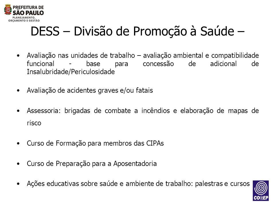 DESS – Divisão de Promoção à Saúde – Avaliação nas unidades de trabalho – avaliação ambiental e compatibilidade funcional - base para concessão de adi