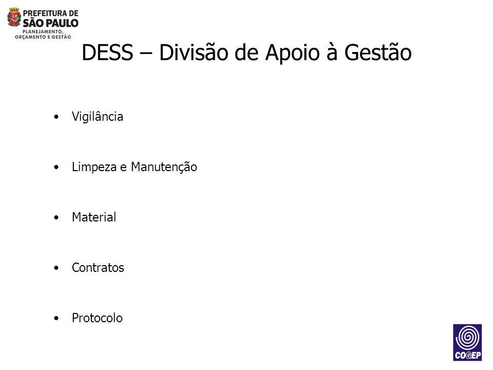 Vigilância Limpeza e Manutenção Material Contratos Protocolo DESS – Divisão de Apoio à Gestão