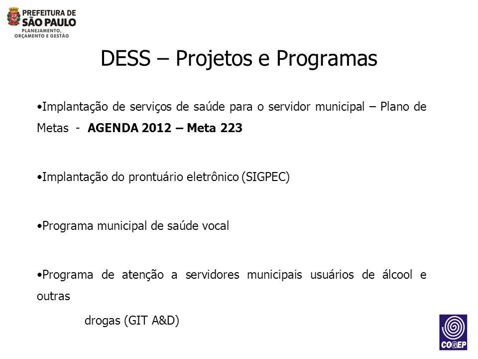 DESS – Projetos e Programas Implantação de serviços de saúde para o servidor municipal – Plano de Metas - AGENDA 2012 – Meta 223 Implantação do prontu
