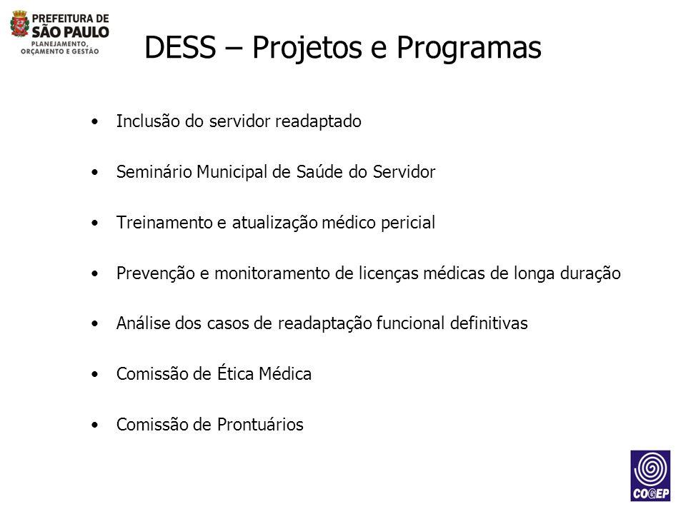 DESS – Projetos e Programas Inclusão do servidor readaptado Seminário Municipal de Saúde do Servidor Treinamento e atualização médico pericial Prevenç