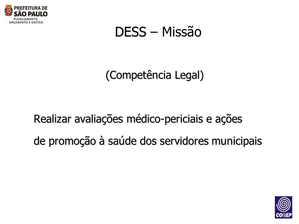 (Competência Legal) Realizar avaliações médico-periciais e ações de promoção à saúde dos servidores municipais DESS DESS – Missão