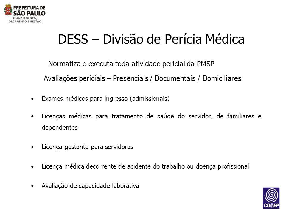 Normatiza e executa toda atividade pericial da PMSP Avaliações periciais – Presenciais / Documentais / Domiciliares Exames médicos para ingresso (admi