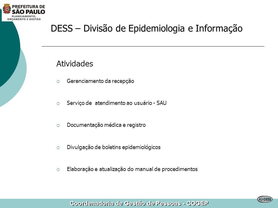 Coordenadoria de Gestão de Pessoas - COGEP DESS – Divisão de Epidemiologia e Informação Atividades Gerenciamento da recepção Serviço de atendimento ao