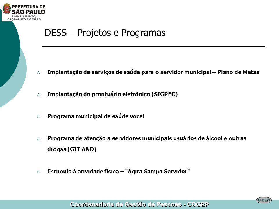 Coordenadoria de Gestão de Pessoas - COGEP DESS – Projetos e Programas Implantação de serviços de saúde para o servidor municipal – Plano de Metas Imp