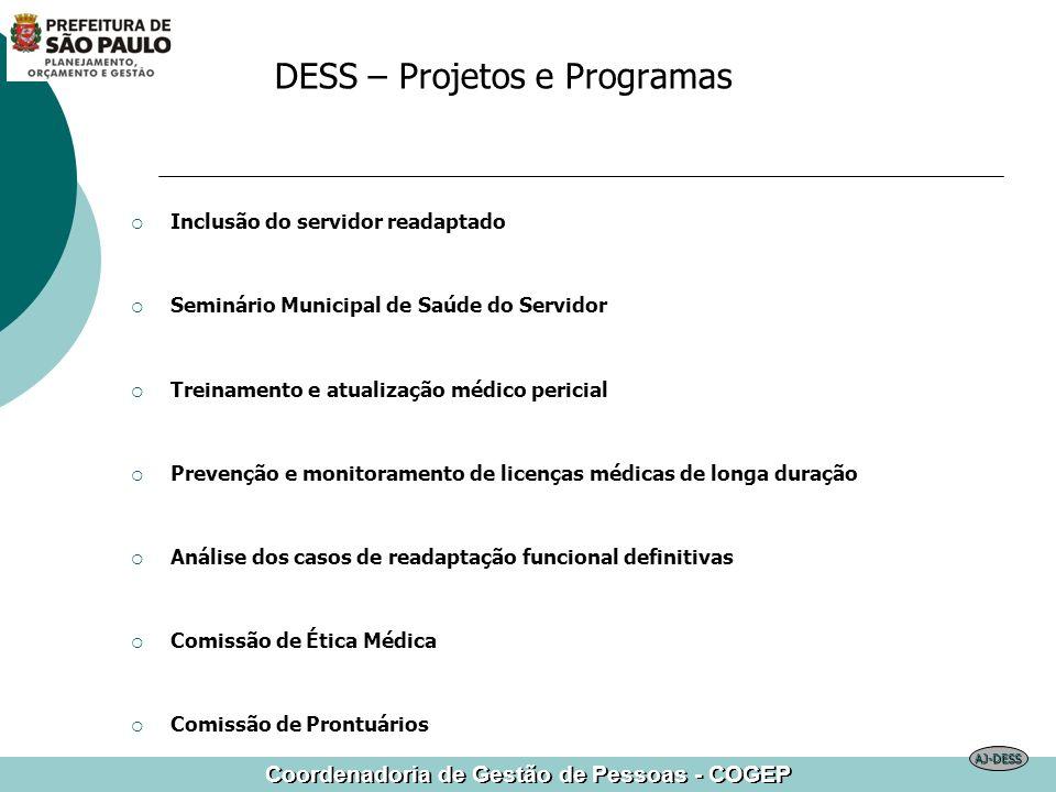 Coordenadoria de Gestão de Pessoas - COGEP DESS – Projetos e Programas Inclusão do servidor readaptado Seminário Municipal de Saúde do Servidor Treina