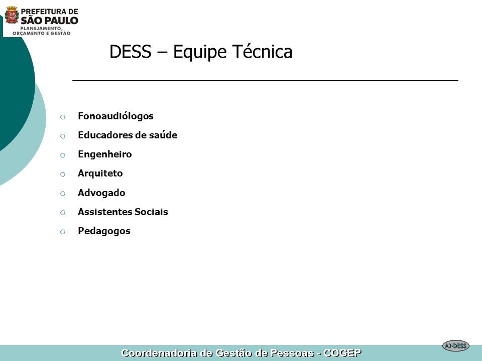 Coordenadoria de Gestão de Pessoas - COGEP Fonoaudiólogos Educadores de saúde Engenheiro Arquiteto Advogado Assistentes Sociais Pedagogos DESS – Equip