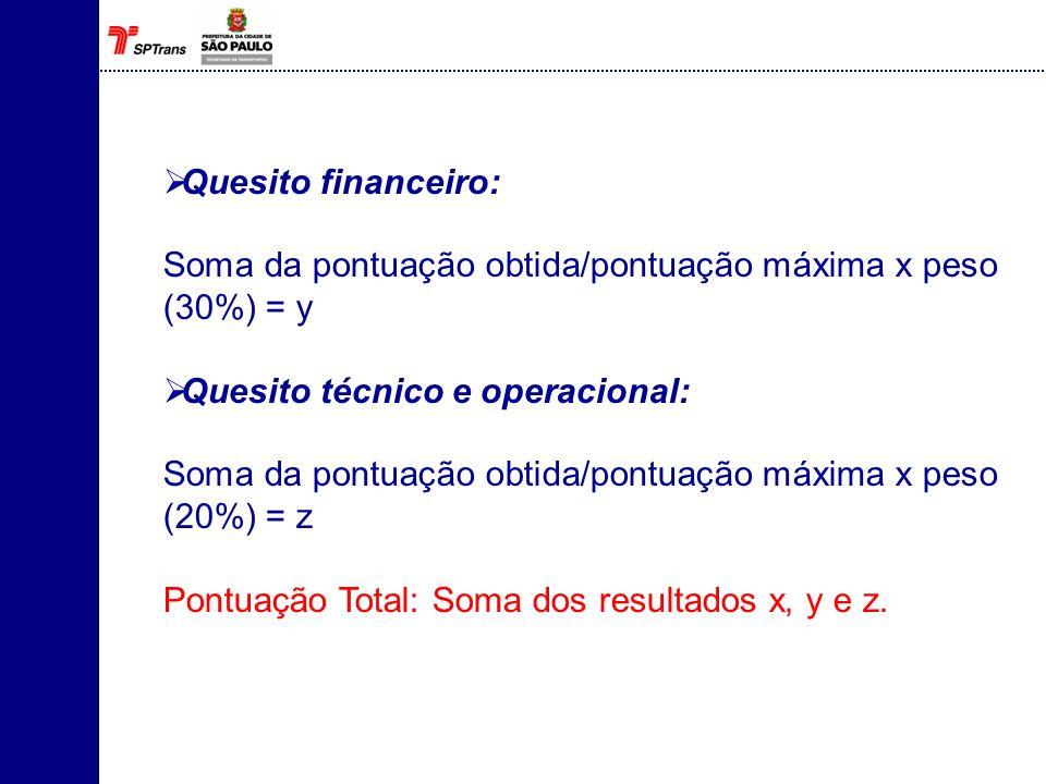 Quesito financeiro: Soma da pontuação obtida/pontuação máxima x peso (30%) = y Quesito técnico e operacional: Soma da pontuação obtida/pontuação máxim