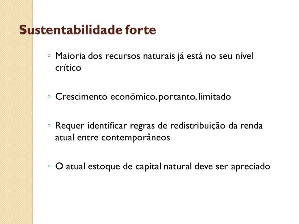 Sustentabilidade forte Maioria dos recursos naturais já está no seu nível crítico Crescimento econômico, portanto, limitado Requer identificar regras