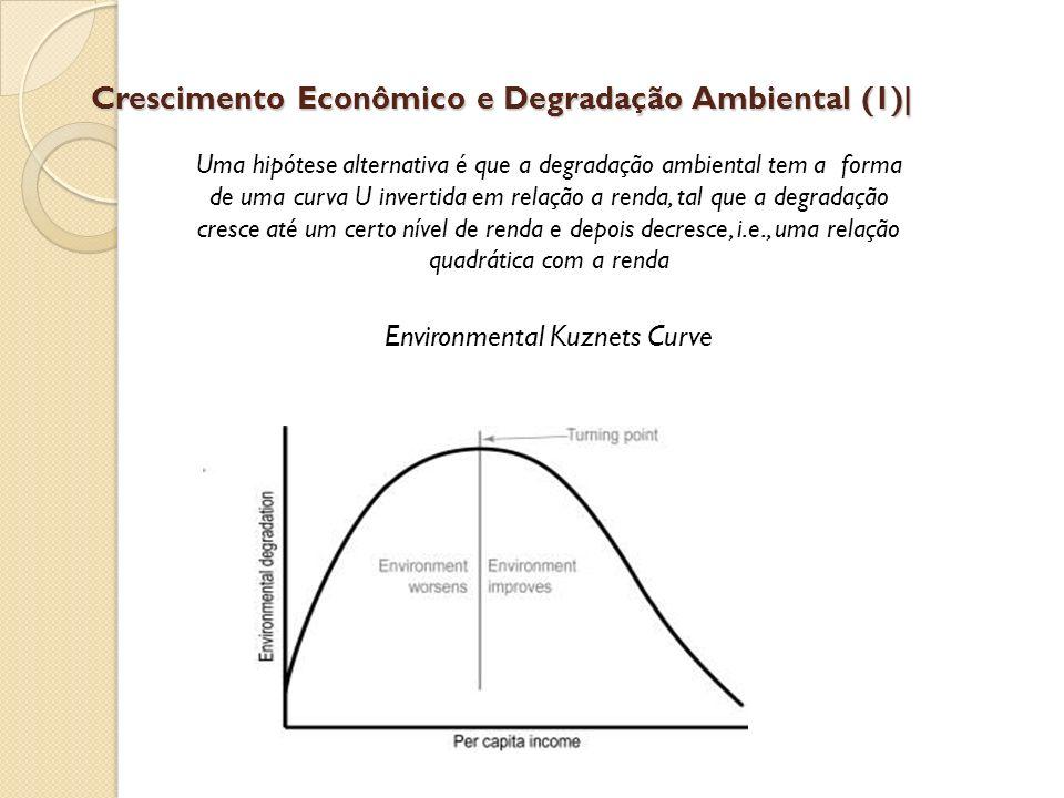 Crescimento Econômico e Degradação Ambiental (1)  Uma hipótese alternativa é que a degradação ambiental tem a forma de uma curva U invertida em relaçã