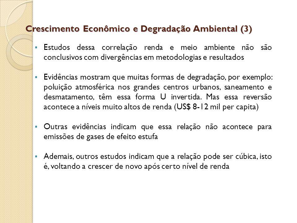 Crescimento Econômico e Degradação Ambiental (3) Estudos dessa correlação renda e meio ambiente não são conclusivos com divergências em metodologias e
